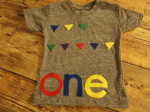 Primary color birthday shirt bunting design door lilthreadzclothing, $41.00