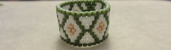 Peyote Seed Bead Ring Triangle Diamond Ring Delica Beads
