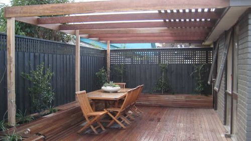 entertainment area: spotted gum decking, pergola and planter boxes