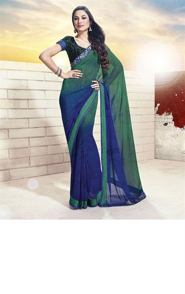 Picture of Fashionable Bottele Green and Navy Blue Color Designer Indian Saree