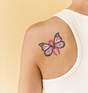 I would LOVE this tattoo, it has so much meaning and its in remembrance of my grandpa! what a coincidence! lung cancer ribbon tattoos | fr cancer ribbon butterfly tattoo picturescancer ribbon butterfly page ...