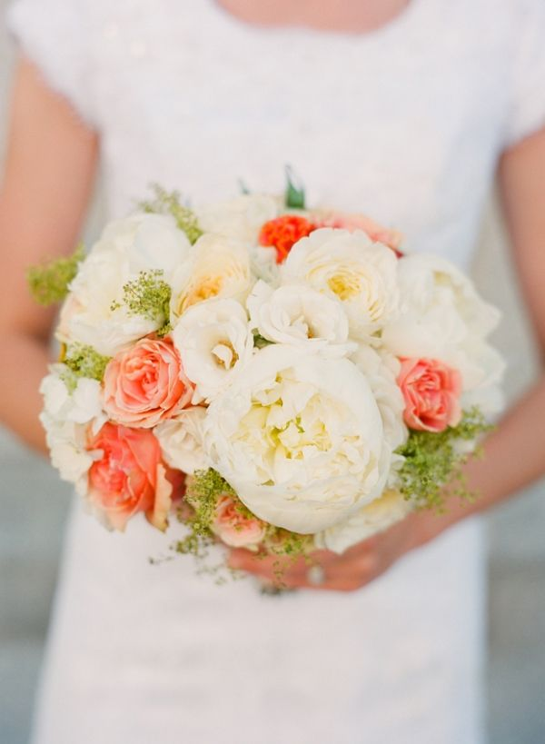 peach, yellow and white with pops of orange