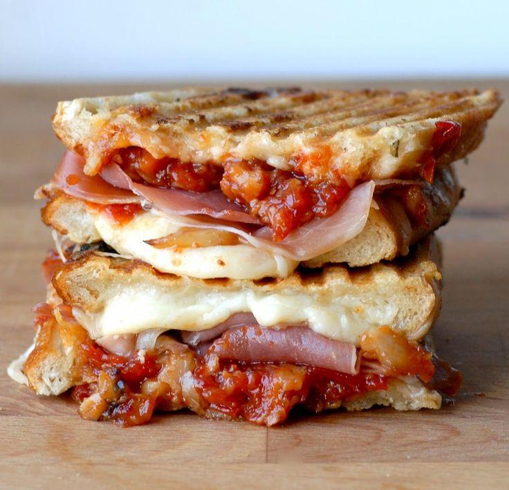 Gruyere,  Serrano Ham, Candied Garlic, Tomato Chutney Grilled Cheese.
