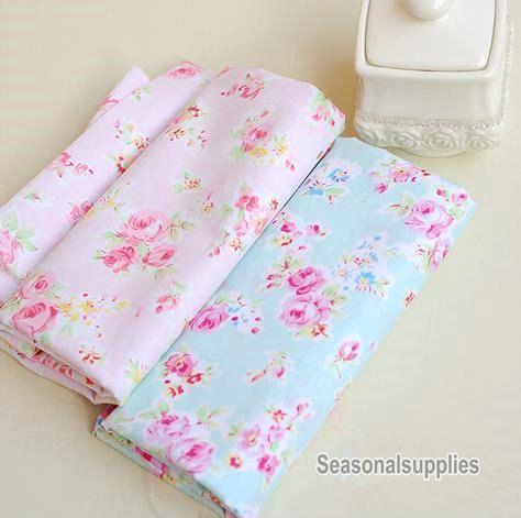 Aqua blue fabric pink flower fabric shabby chic flower - Telas shabby chic ...