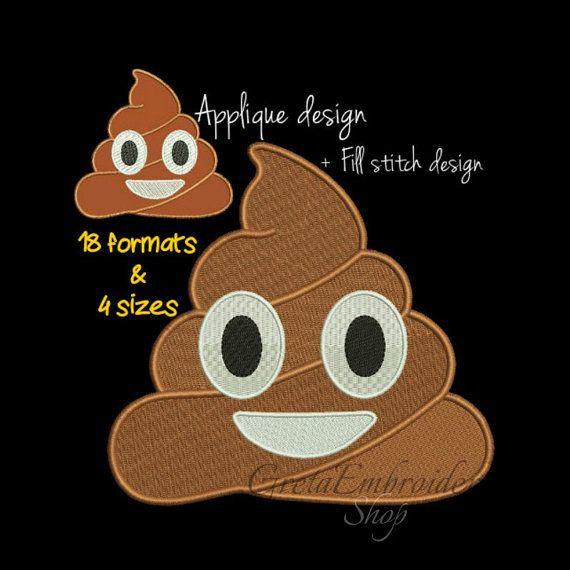 Poop emoji embroidery designs,digital download,emoji embroidery,poop applique design,poop fill stitch design,18 formats,poop digital design