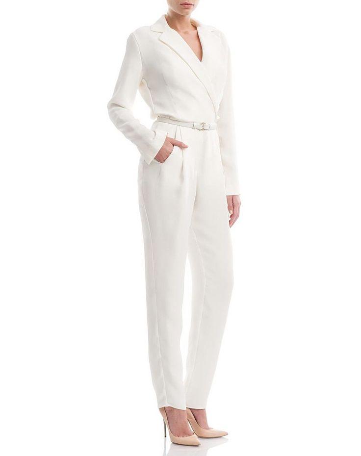 White silk-crepe jumpsuit
