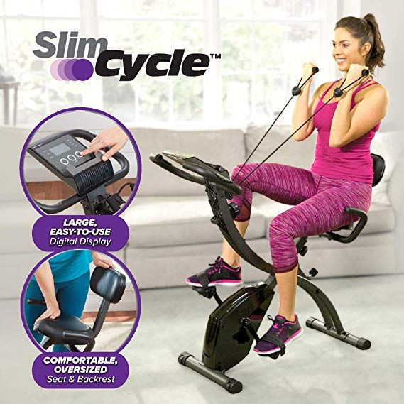Amazon Com Slim Cycle 2 In 1 Stationary Bike Folding Indoor Exercise Bike With Arm Resistance Bands Best Exercise Bike Biking Workout Indoor Bike Workouts