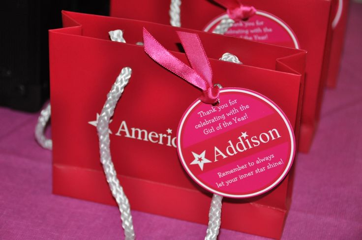 American Doll Party Favor Tags...ask for small bags at American Girl Store to use as party favor bags