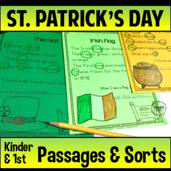 St. Patrick's Day themed Reading Passages on the Kindergarten and 1st grade level plus noun sorts. Reading Passages and Sorts include: Reading Passage #1 - reading level 0.3 Reading Passage #2 - reading level 0.6 Reading Passage #3 - reading level 1.9 2 Noun sorts - cut and paste 4 Noun Signs  $