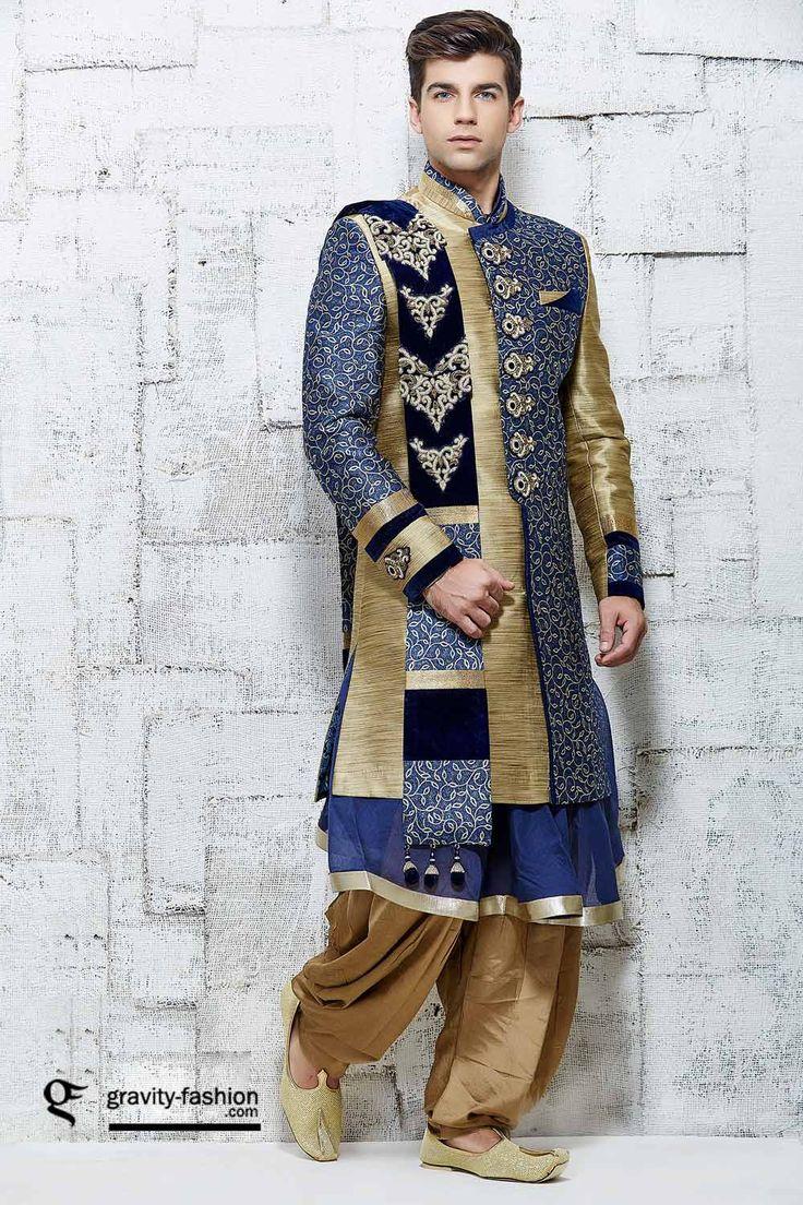 attractive wedding sherwani 2015, traditional indian sherwani 2015 & 2016, latest wedding shervani patiala suit with coat