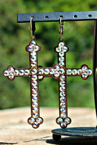 Large Bronze Cross Earrings- Crystal $36.99! #pinkpanache #earrings #southernfriedchics