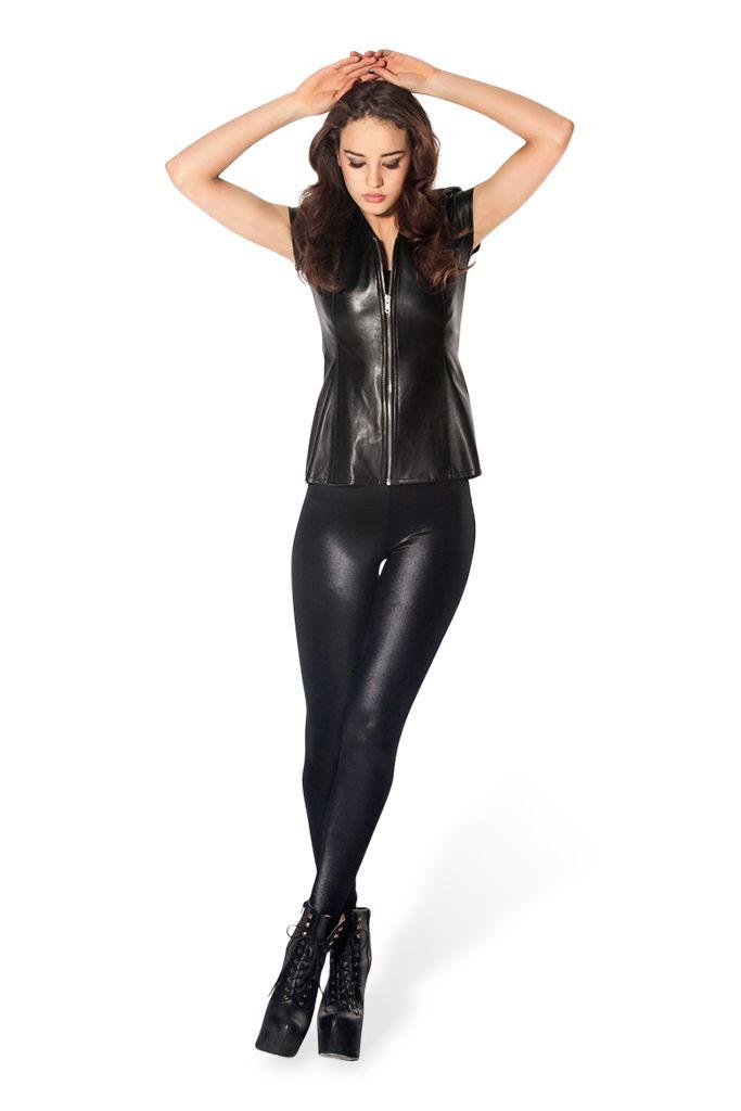 wet look leggings Black