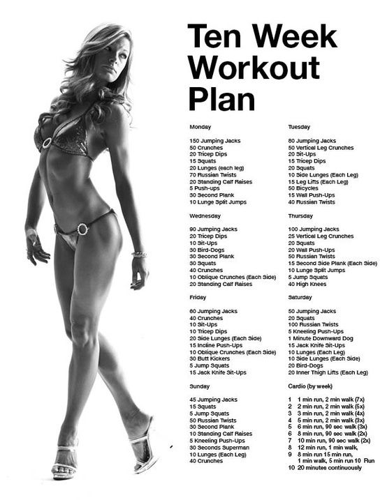 10 Week Workout Plan | must start jan 1. make sure to include the cardio at the bottom... sorry about the skimpy lady!.