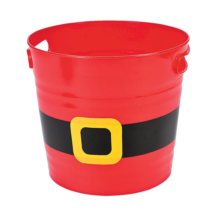 """These are fun to use for """"Christmas Eve"""" buckets that Santa's elves leave on our doorstep: Full of fun little snacks, a Christmas movie, and of course, Christmas pajamas!"""