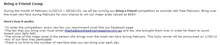 Bring a Friend competition info for our Facebook page. www.facebook.com/grmagazine