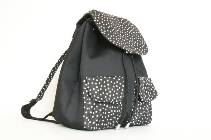 Rucksack Black Bull Denim with Polka Dot features by EverSewNice on Etsy