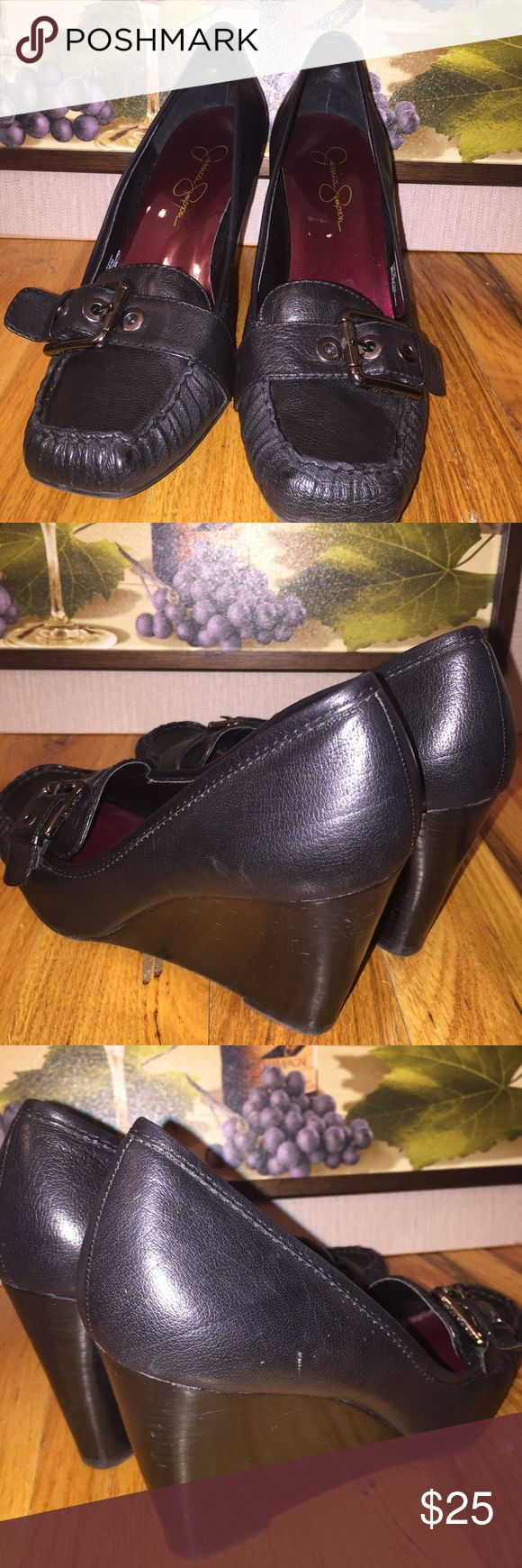 Jessica Simpson JS-Manny Wedge Size 10 Jessica Simpson Wedges, appx 3 1/2 inches wedge height, minor scuffing, original box (slightly crushed) Jessica Simpson Shoes Wedges