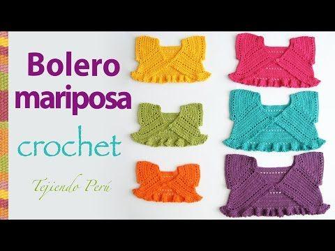 Bolero mariposa para bebitas y niñas tejido a crochet ¡paso a paso! - YouTube