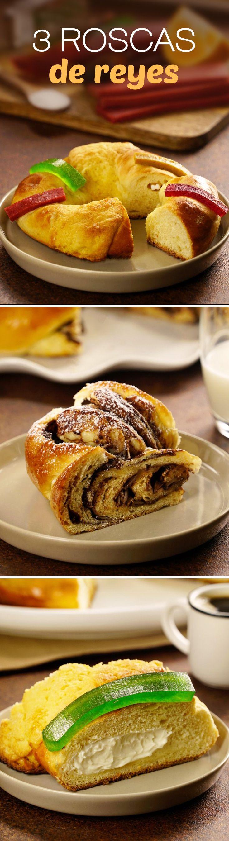 La Rosca de Reyes nunca volverá a ser la misma con estas 3 recetas fáciles: una rosca trenzada rellena de chocolate o que tal unas lindas mini roscas de reyes, pero si te encanta el queso crema, la rosca de tamaño familiar será tu favorita.