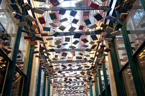 Richard Wentworth's installation of over 1600 books suspended in one of the alley ways in Leadenhall Market, London.
