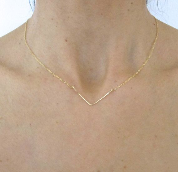 Chevron Yellow Gold hammered wire delicate necklace by elisdesigns