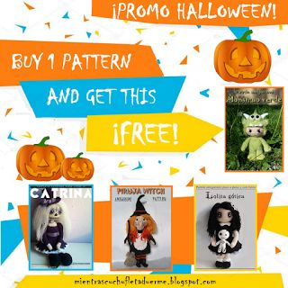 Promo Halloween. Buy 1 pattern and get other for free.