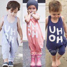 2019 Sommer Kinderbekleidung Kinder Baby Jungen Mädchen Ärmellos Neckholder Strampler Overall   – Babykleidung
