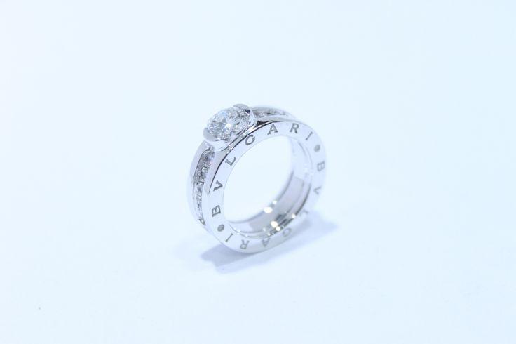 cincin kawin bvlgari custom emas putih dan mata berlian