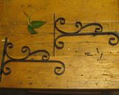 Wrought iron Plant Hangers , Matching Pair Of Plant Hooks , Hanging Plant Hooks