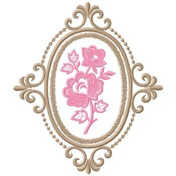 Gunold Embroidery Design: Framed Rose 7.17 inches H x 6.24 inches W