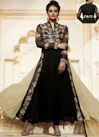 Blooming Black Beige Thread Work Georgette Anarkali Suit