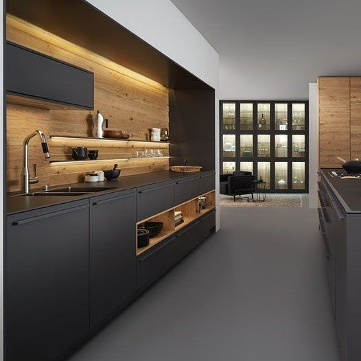 Loving the use of timber as the featured inserts in designs ❤🌱 From Pinterest  #kitchen #bathrooms  #timber #building #renovate #colour #interiordecorator #black #interiordesign