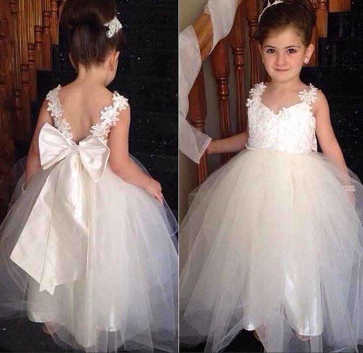 2015 cute girl dress ivory wedding flower girl dress lace for Big girl wedding dresses
