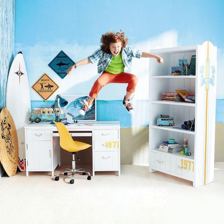 2 plaques en métal jaune/bleue H 35 cm SURF | Maisons du Monde