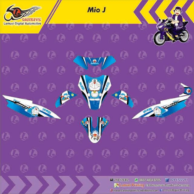 Custom Decal Vinyl Full Body Striping Motor Yamaha Mio J Thema Doraemon Berkualitas by DIGITIVE