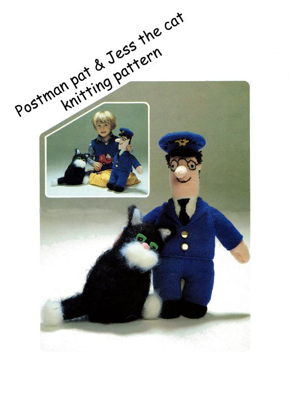 postman pat and jess the cat toy dk knitting by Heritageknitting1
