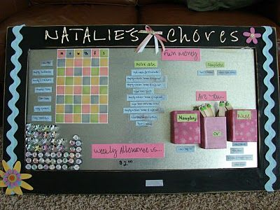 magnetic chore board *I like that it includes the days of the week; allowance; etc. (I might make one the combines a few ideas)