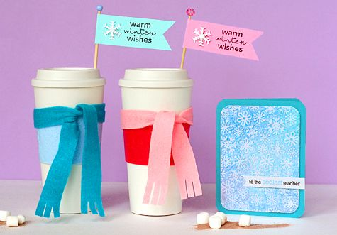 """""""Warm winter wishes."""" Reusable coffee containers and gift card. Nice gift and wrapping.: Travel Mugs, Gifts Cards, Cute Teacher Gifts, Gifts Ideas, Gift Ideas, Holidays Gifts, Holiday Gifts, Teachers, Christmas Gifts"""