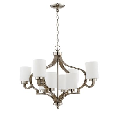 Craftmade 46728-PLNWF Jasmine 2-Tier 8-Light Chandelier #home decor sale & deals Finish:Polished Nickel/Weathered Fir, Glass:Frosted White, Light Bulb:(8)60w A19 Med F Incand The Jasmine 8-light chandelier combines a high-quality f...
