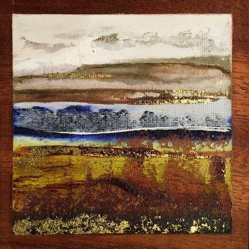 Gem of God's Earth 9 - oil on silk and mahogany