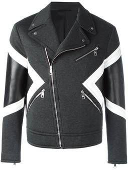 panelled biker jacket