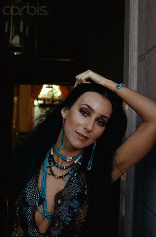 Cher Wearing Turquoise Jewelry Ax022078 Rights Managed