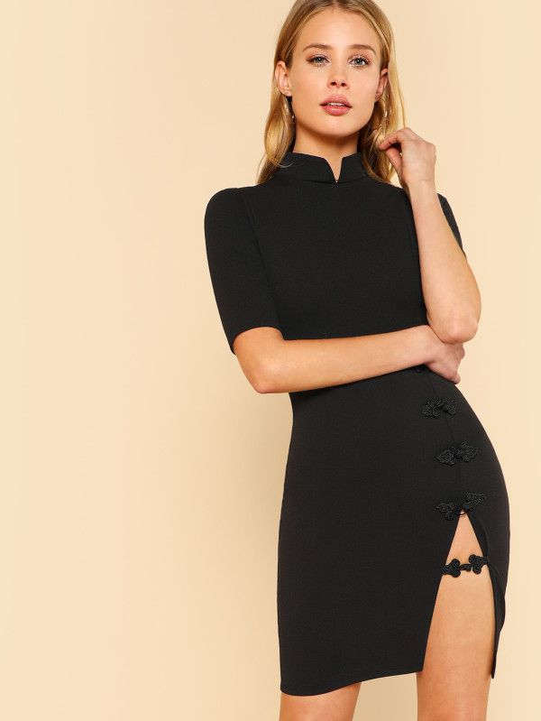 Short Sleeve Mandarin Collar Dress With Front Slit and Cord Fasteners  Detail BLACK -SheIn(Sheinside) 73e5b5383