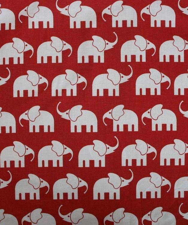 Baumwolle, weiße Elefanten auf rotem Grund