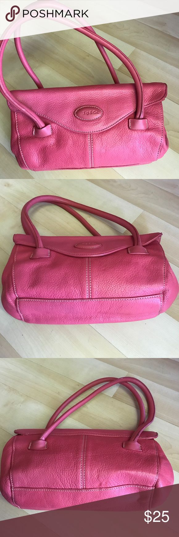 "Pink Tig & Co. pebbled leather mini purse Pink Tig & Co. pebbled leather mini purse. Great condition. Clean inside. Soft leather. Perfect for summer. Size 10""(L),5,5""(H),3""(D). Tig & Co Bags Mini Bags"