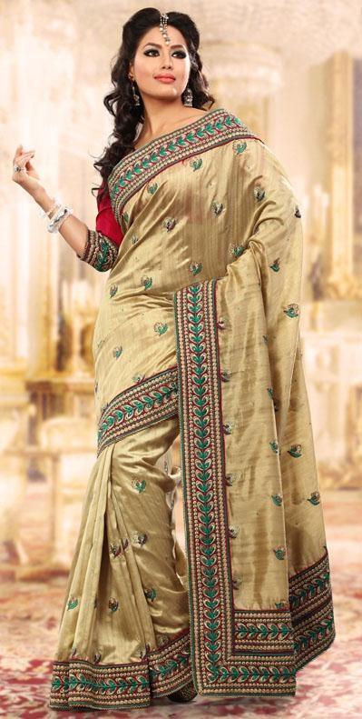 $66.36 Brown Banarasi Silk Embroidered Saree 24310