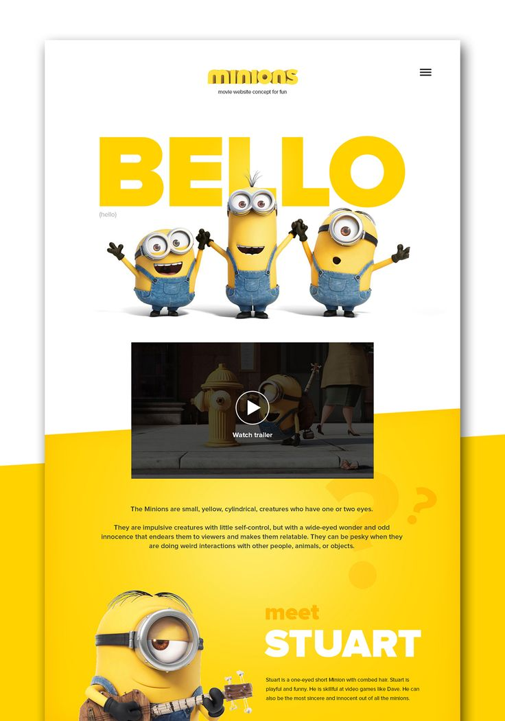 Minions Website on Web Design Served