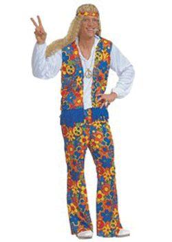 Hippie kleding voor mannen. Deze hippie kleding voor mannen bevat een gebloemde broek in verschillende kleuren: blauw, geel, oranje en groen. Daar bovenop komt een gebloemd giletje in dezelfde kleuren, perfect te combineren met een wit of zwart overhemd. Bestel hier ook een peace ketting of andere hippie accessoires. Carnavalskleding 2015 #carnaval