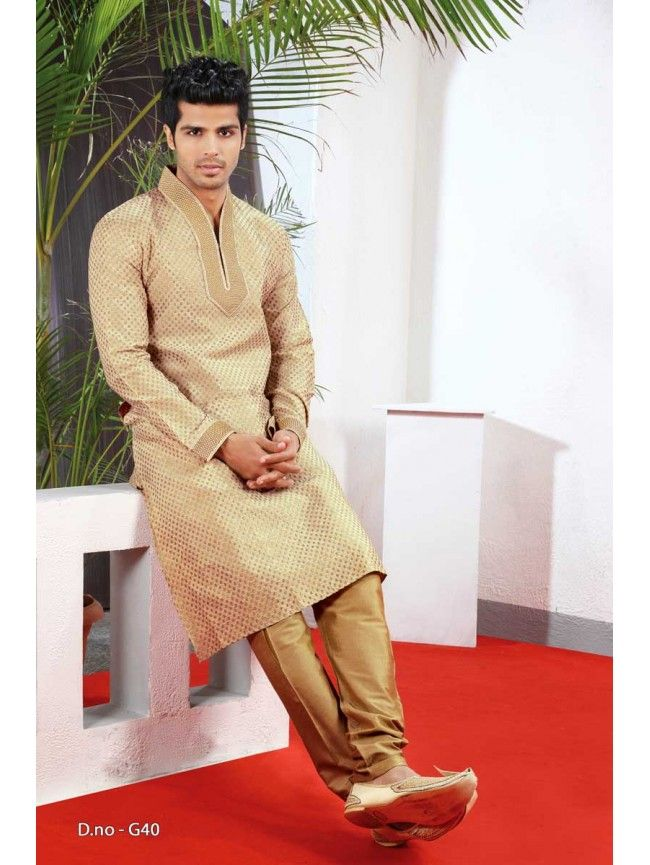 Golden Designer Kurta with Churidar Mens Wear