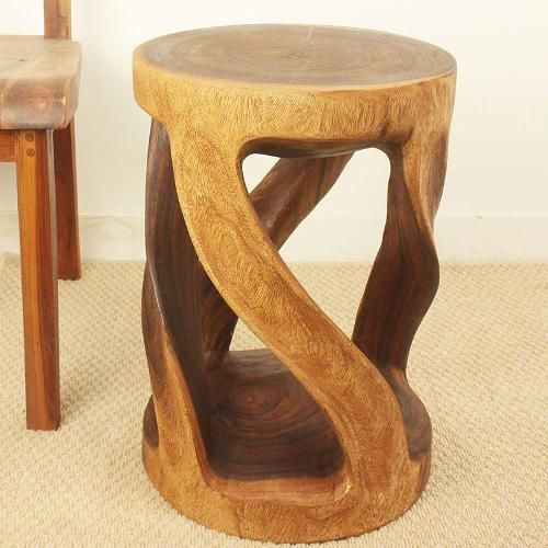 Round Wood Stool wild twisted vine hand carved monkey pod wood furniture. Beautiful Thai craftsmanship in a walnut or grey finish.